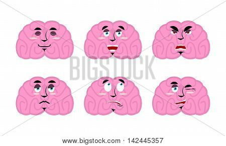 Emotions brain. Set emoji avatar brains. Good and evil mind. Discouraged and cheerful. Sad and sleepy. Aggressive and cute