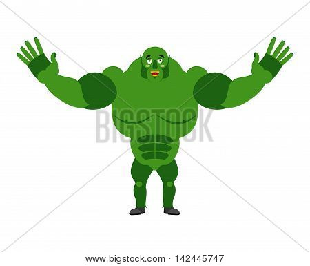 cheerful Ogre Spread His Arms In An Embrace. Good Big Green Troll. Lovely Kind Monster Goblin