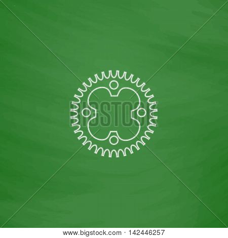 Sprockets Outline vector icon. Imitation draw with white chalk on green chalkboard. Flat Pictogram and School board background. Illustration symbol