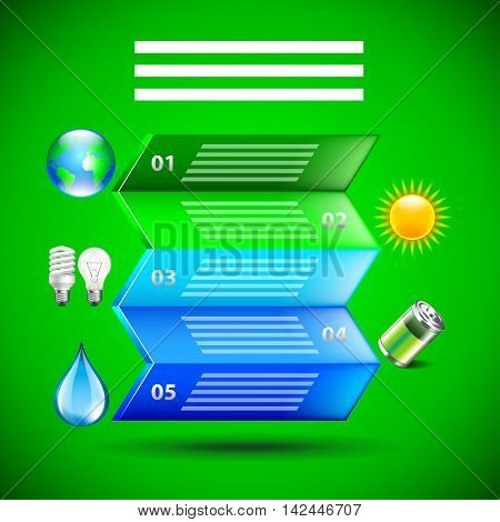 Environment inforgaphics. Colorful folded paper and ecology icons green background