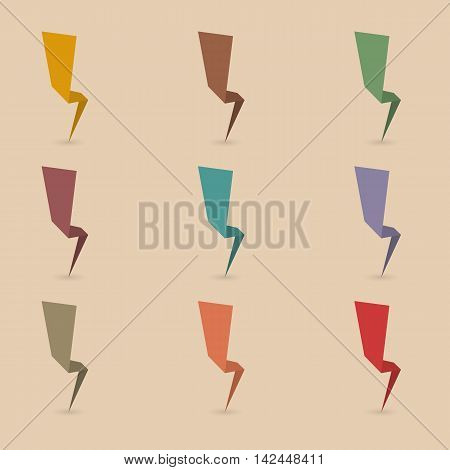 Set of nine different colored paper lightning thunderbolt with the shadow second set vector illustration.
