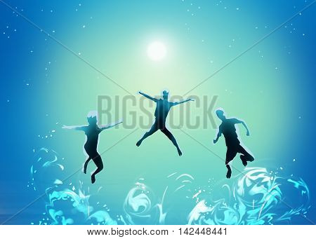 Under the sea, abstract illustration. Boys swim under the sea. Sea diving. Sea life. Sea Party, Summer Sea wave. Group of Kids swimming. Sea divers. Diving sport. Hand Drawn, digital illustration, painting