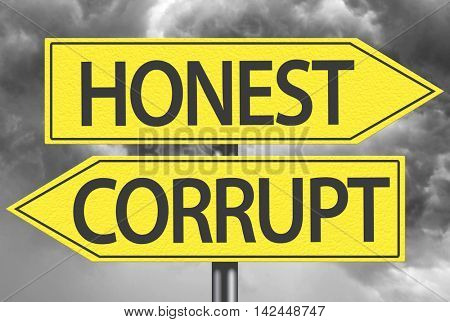 Honest x Corrupt yellow sign
