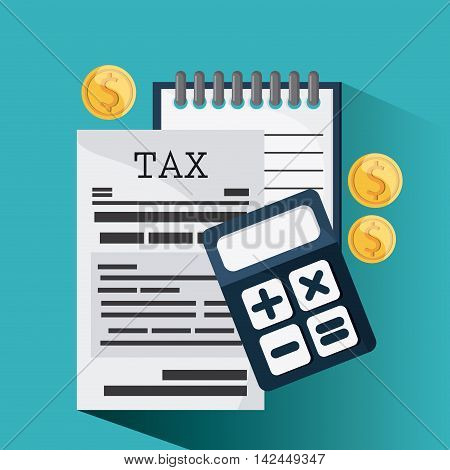 document coins calculator icon. Tax design. colorful and flat illustration