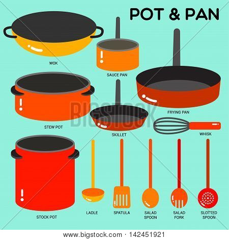 Cook ware set with pots pans wok and utensils in simple style with colors.