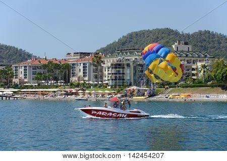 Kemer, Turkey, July 10, 2016. Kemer Beach Resort, view from the sea