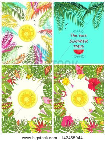 Collection of summery tropical poster