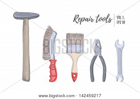 Hand Drawn Vector Illustration - Tools (hammer, Brush, Pliers, Wrench), Vol.1. Building, Repair And