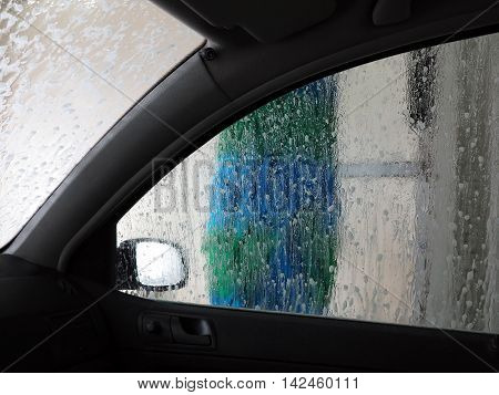 Shot from car in the car wash