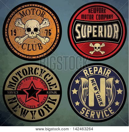 motorcycle. Custom motorcycle label. vintage motorcycle print. Logos and design elements.