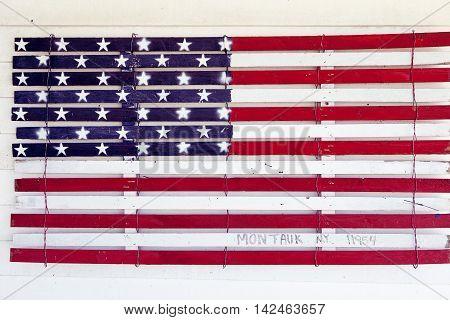 USA style background on old grunge wall, Montauk