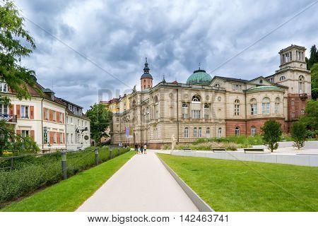 BADEN-BADEN, GERMANY - JUIY 31, 2016: Street view to Friedrichsbad Spa in Baden-Baden.