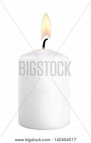 White burning candle isolated on white background
