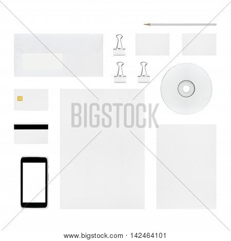 Isolated objects for branding identity - letterhead business cards envelope pencil cd or dvd binder clip smart card magnetic stripe card smartphone