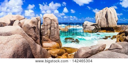 Anse Marron - impressive rocky wild beach in La digue island, Seychelles
