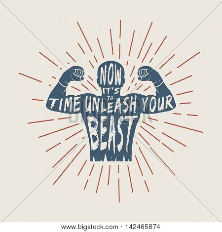 Vintage motivation logo emblem label poster or design print. Inspirational quote with typography and fighter silhouette. Vector Illustration