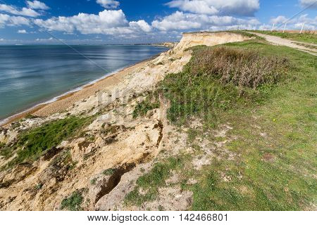 Sandstone low cliffs Taddiford Gap Milford on Sea Hampshire England United Kingdom looking towards Christchurch and Bournemouth.