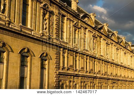 Old large building frontage. Paris France Europe.