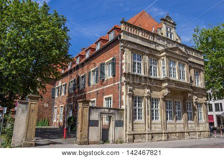MUNSTER, GERMANY - AUGUST 7, 2016: Heeremanscher hof building in the center of Munster, Germany