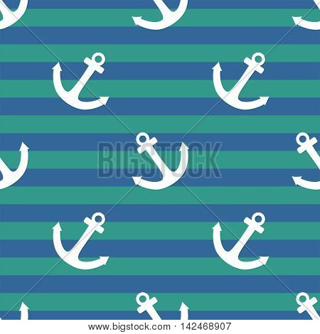 Tile sailor vector pattern with white anchor on navy blue and mint green stripes background