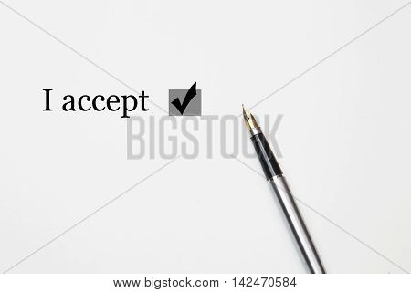 I accept with a box ticked on white background