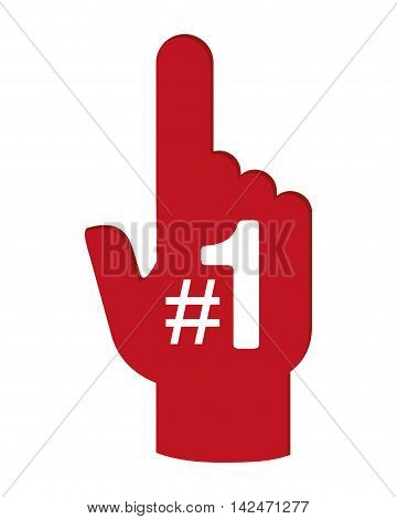 flat design foam finger icon vector illustration