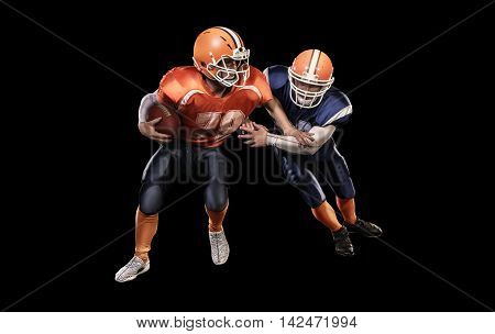 Young american football players in action with ball on black background