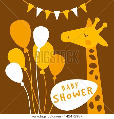 Baby Shower Invitation Card Cover Template. Giraffee, Brown And Yellwow Colored Flat Vector Illustra