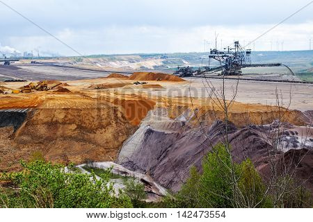 destroyed earth layers during lignite (brown coal) open pit mining at Garzweiler Germany significant impact on the environment poster