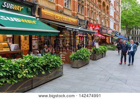 Irving Street With Restaurants In London, Uk