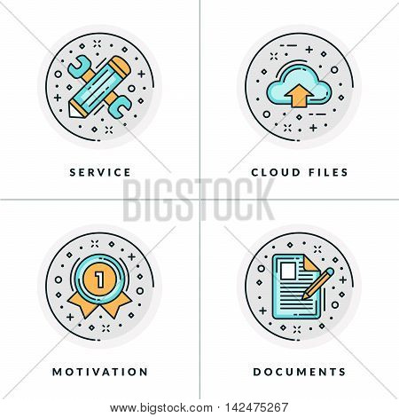 Business And Working. Set Of Four Icons On Service, Cloud Files, Motivation And Documents. Colored I