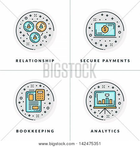 Business And Working. Set Of Four Icons On Relationship, Secure Payments,bookkeeping, Analytics. Col
