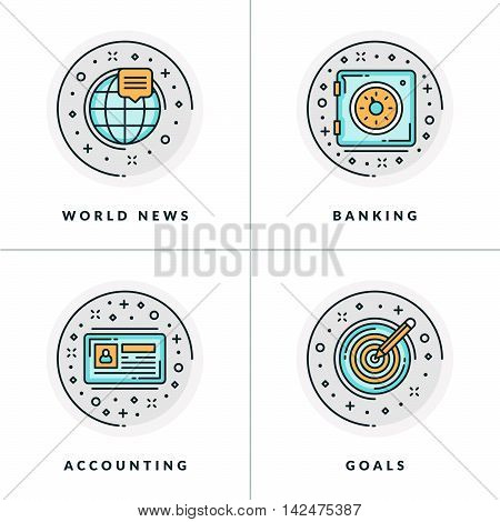 Business And Working. Set Of Four Icons On World News, Banking, Accounting, Goals. Colored In Gray,