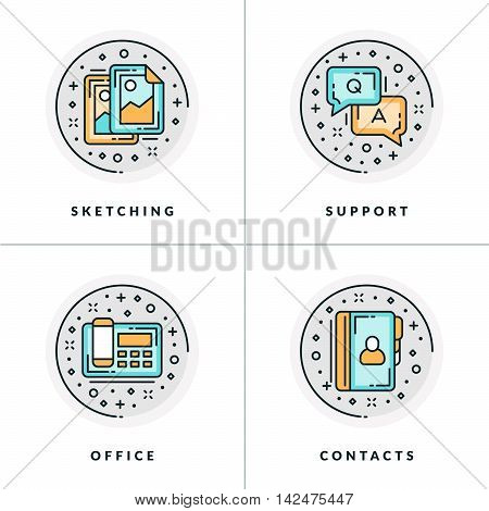 Business And Working. Set Of Four Icons On Sketching, Support, Office, Contacts. Colored In Gray, Or