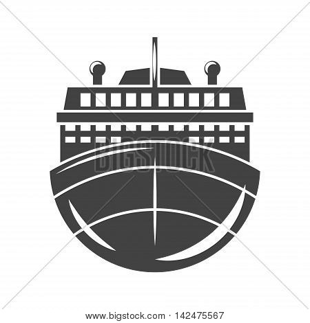 Nautical collection. Ship cruise liner front view. Black icon logo element flat vector illustration isolated on white background.