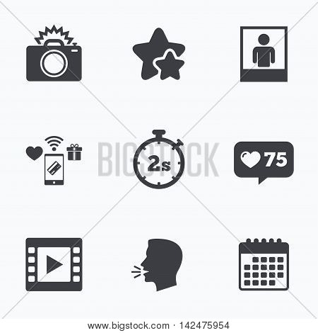 Photo camera icon. Flash light and video frame symbols. Stopwatch timer 2 seconds sign. Human portrait photo frame. Flat talking head, calendar icons. Stars, like counter icons. Vector poster