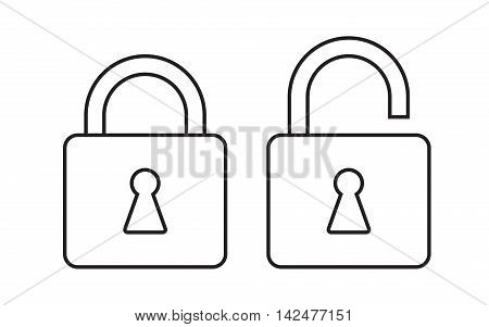 Line icon locked and unlocked padlock. Lock icon. Vector illustration.
