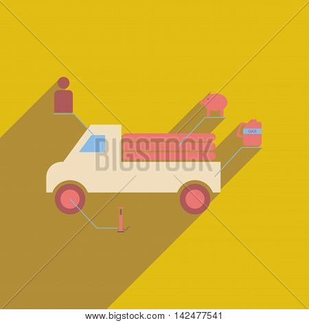 Flat web icon with long  shadow truck infographics