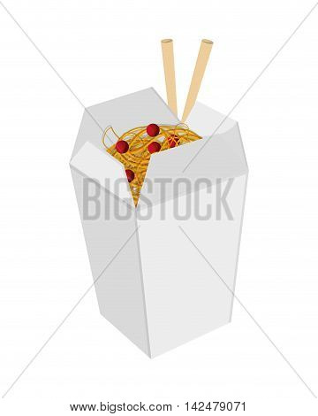 flat design Chinese takeout food icon vector illustration