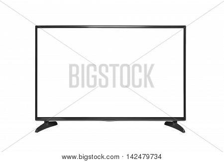 Modern blank flat screen TV set. Isolated on white background.