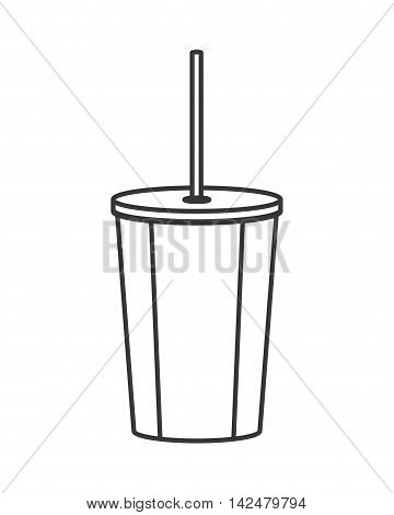 flat design soft drink disposable cup icon vector illustration