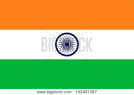 Flag of India in correct size proportions and colors. Accurate dimensions. Indian national flag.