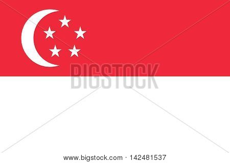 Flag of Singapore in correct size proportions and colors. Accurate dimensions. Singapore national flag.