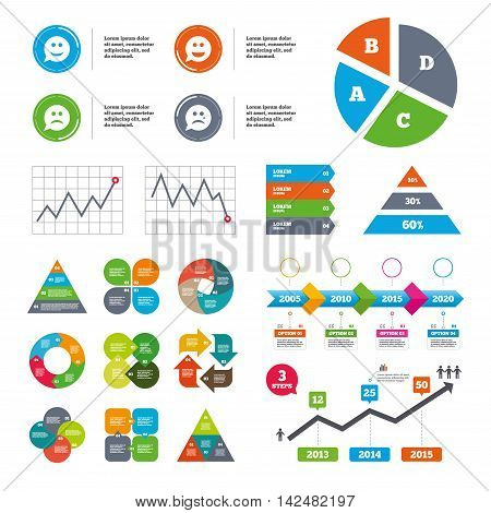 Data pie chart and graphs. Speech bubble smile face icons. Happy, sad, cry signs. Happy smiley chat symbol. Sadness depression and crying signs. Presentations diagrams. Vector
