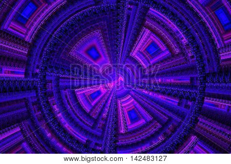 Abstract blue and pink technical square fractal