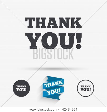 Thank you sign icon. Gratitude symbol. Flat icons. Buttons with icons. Thank you ribbon. Vector