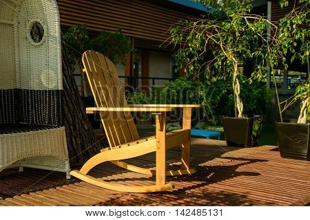 Wooden chair at outdoor cafe in Europe