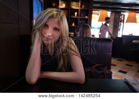 Black and white photography of beautiful young girl in love during meeting in cafe