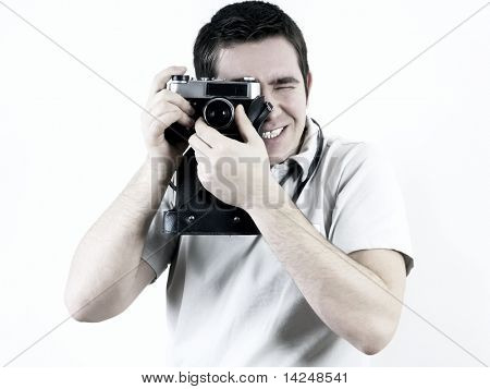 Happiness man with vintage photo camera.