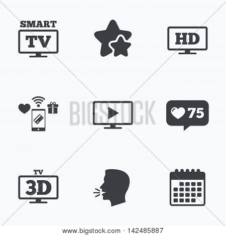 Smart TV mode icon. Widescreen symbol. High-definition resolution. 3D Television sign. Flat talking head, calendar icons. Stars, like counter icons. Vector